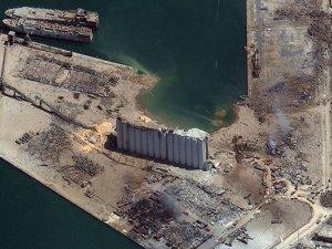 Beyrut Limanı'nın patlama öncesi ve sonrası uydu görüntüleri