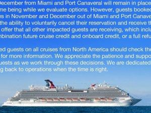Carnival Cruise Line, 2020 yolculuklarını iptal etti