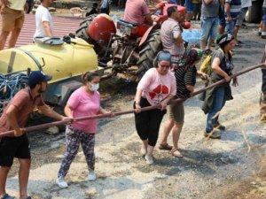 Köyceğiz'de halk ve görevlilerle birlikte yangın seferberliği