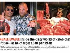 """The Sun, Nusr-et'in 630 Sterlin biftek fiyatına """"rezil fiyat"""" dedi"""