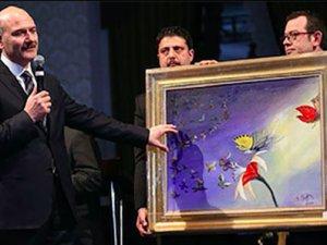 Bakan Soylu'nun yaptığı resim 500 bin liraya satıldı