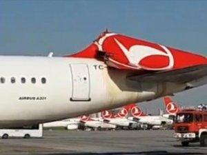 Kore uçağı THY uçağının kuyruğuna çarptı