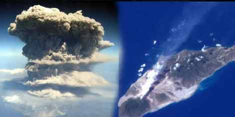 Patlayan volkan uçaktan görüldü
