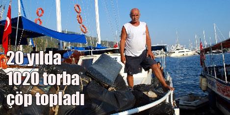 20 yılda 1020 torba çöp topladı