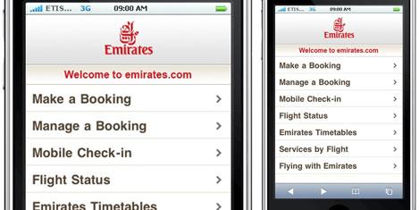 Emirates.com cep telefonunda