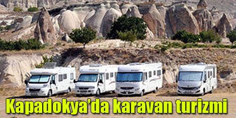 Kapadokya'da karavanlı turistler