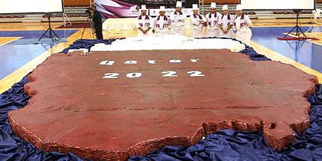 Katar'da dünyanın en büyük keki