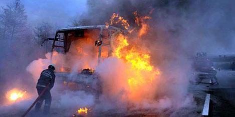 Kahve makinesi otobüs yaktı