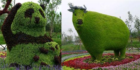 Fuarda hayvan heykelleri