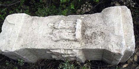 Roma mezar taşını ağaca sakladı