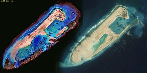 Çin denizde esrarengiz ada yaptı