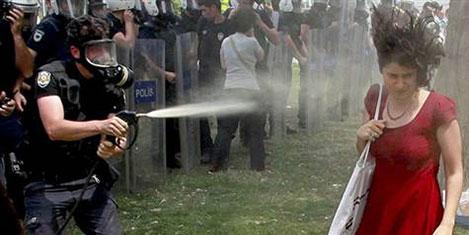 Gezide gaz sıkan polise fidan cezası