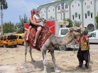 Deveciler, deveye hendek atlatmakta zorlandı