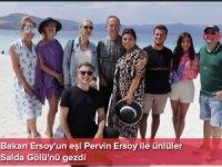 Bakan Ersoy'un eşi Pervin Ersoy ile ünlüler Salda Gölü'nü gezdi