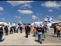 Havacılık çalışanları Tel Aviv Havalimanı'nda eylem yaptı